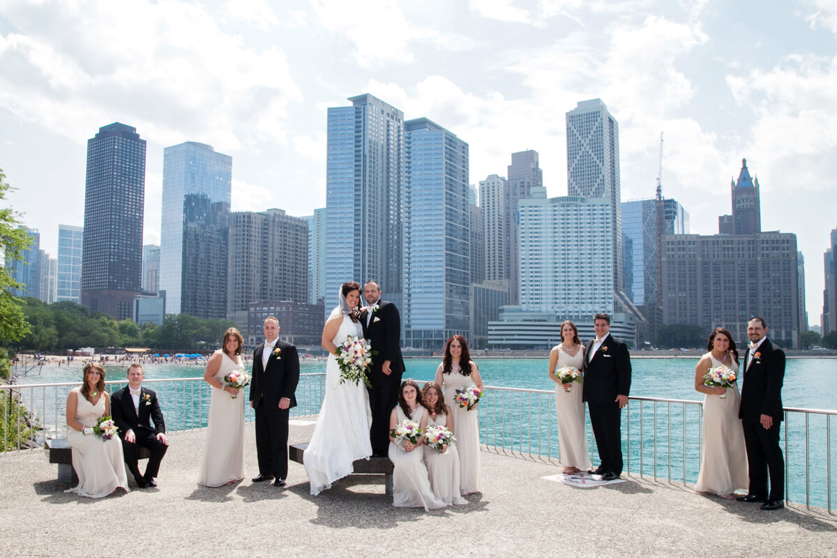 Olive Park Chicago skyline with Bridal Party