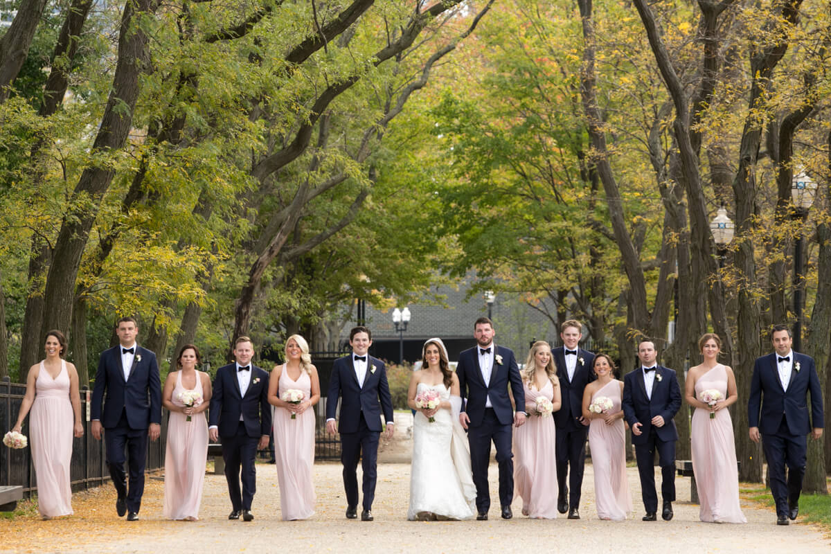 Bridal Party candid photo at Olive Park in Chicago