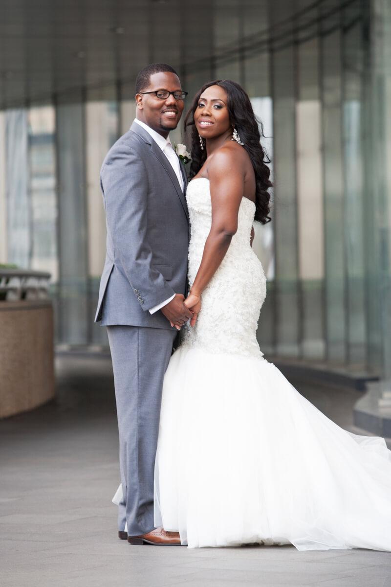 Bride and groom portrait on the Chicago Riverwalk