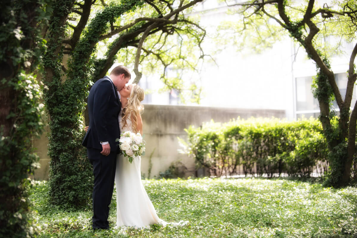 Romantic garden photo of bride and groom