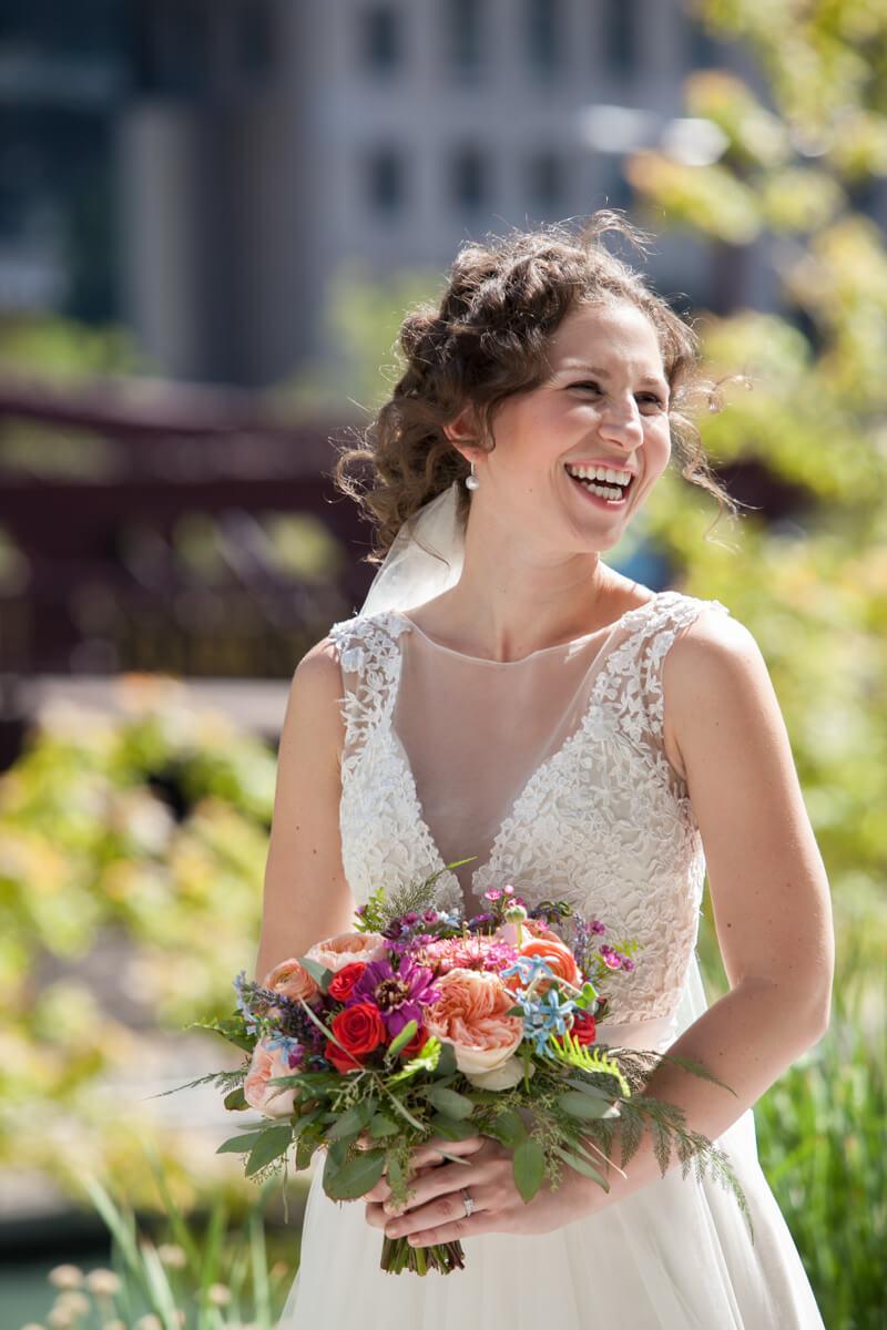 Candid portrait of smiling bride