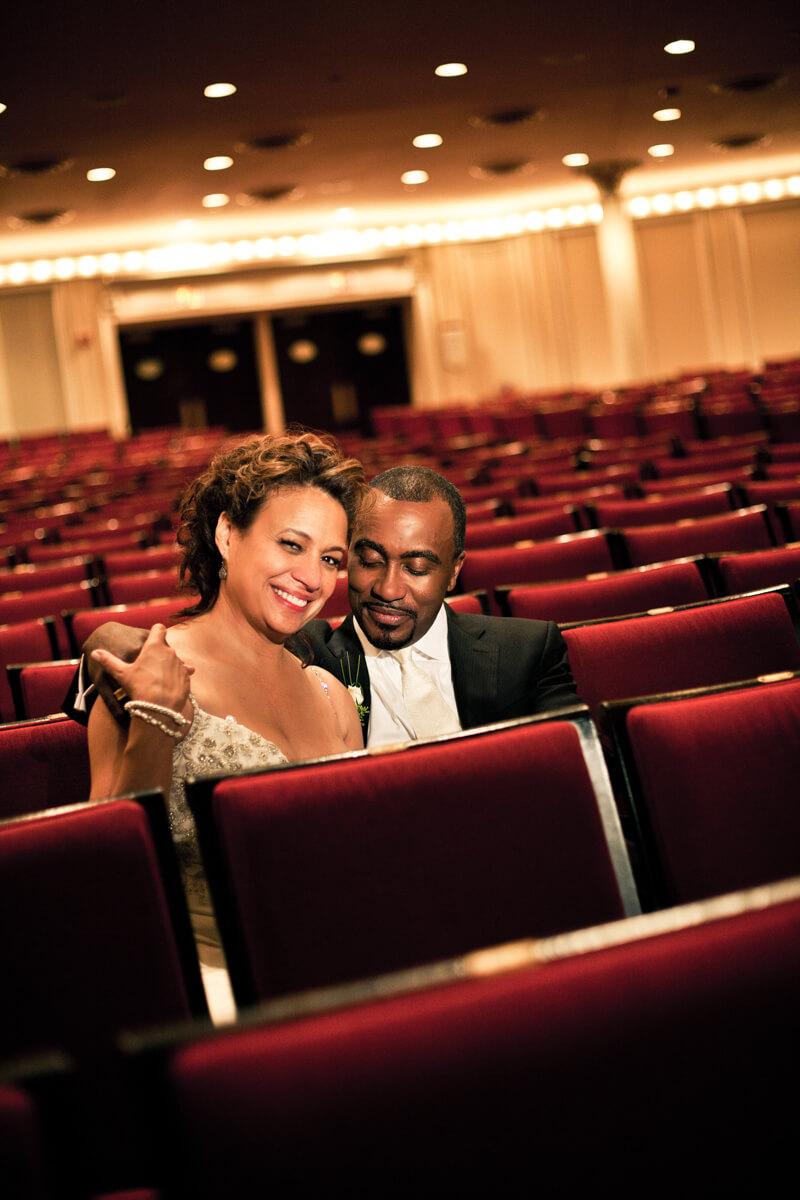 Bride and Groom portrait at Chicago's Auditorium Theater