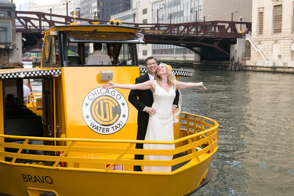 Chicago Water Taxi portrait with Bride and Groom
