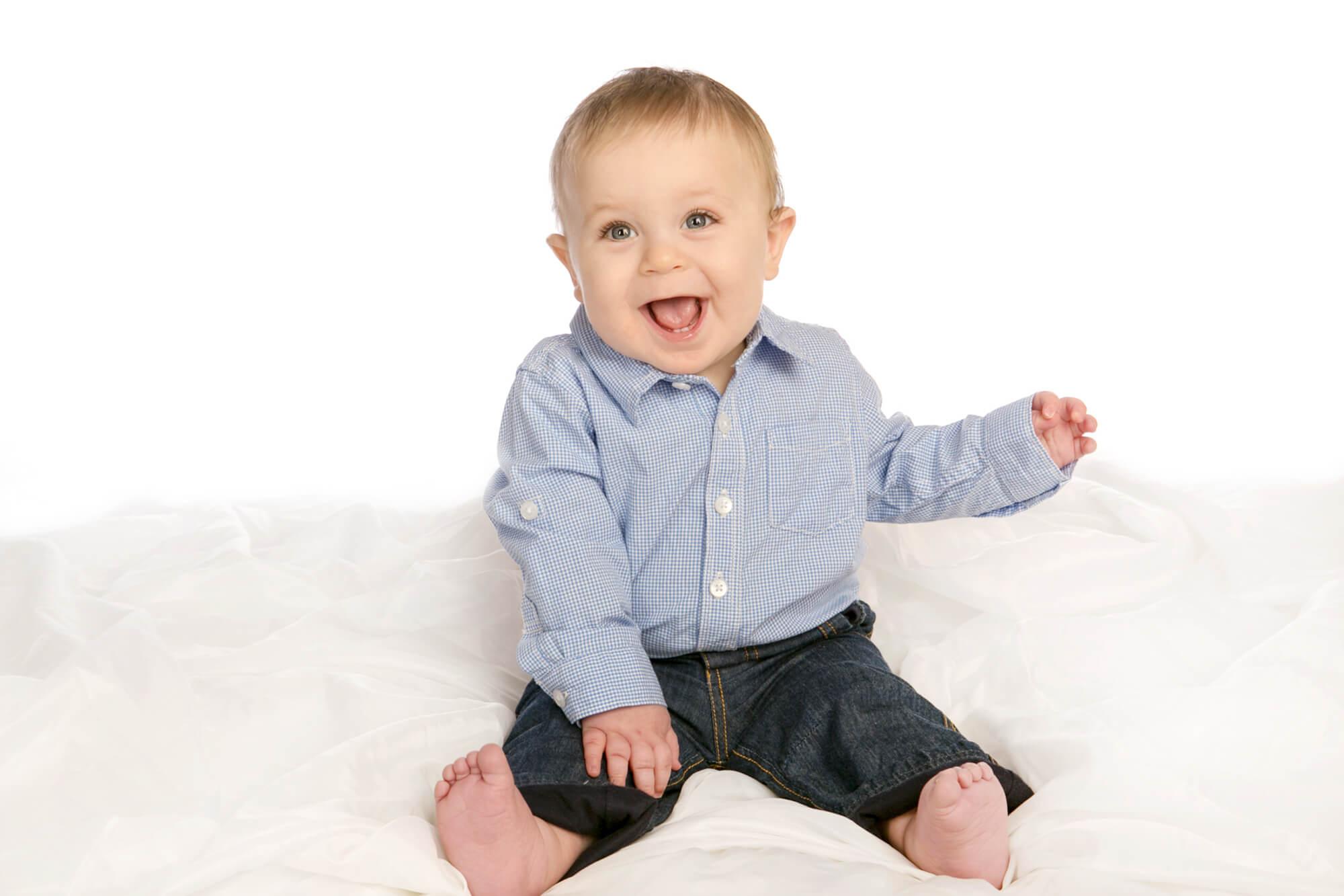 Baby Boy Portraits taken on White Backdrop