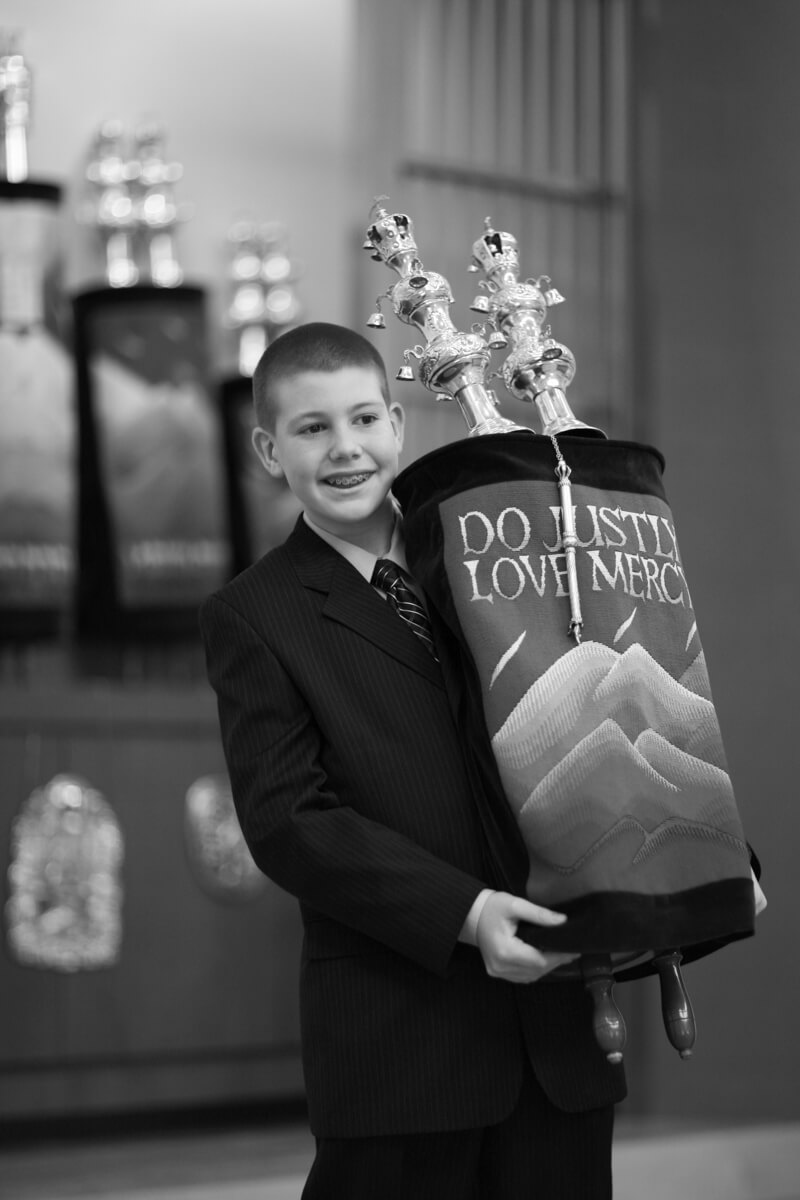 Black and White Portrait with Torah