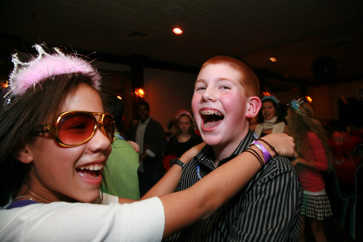 Children have fun dancing at Bar Mitzvah