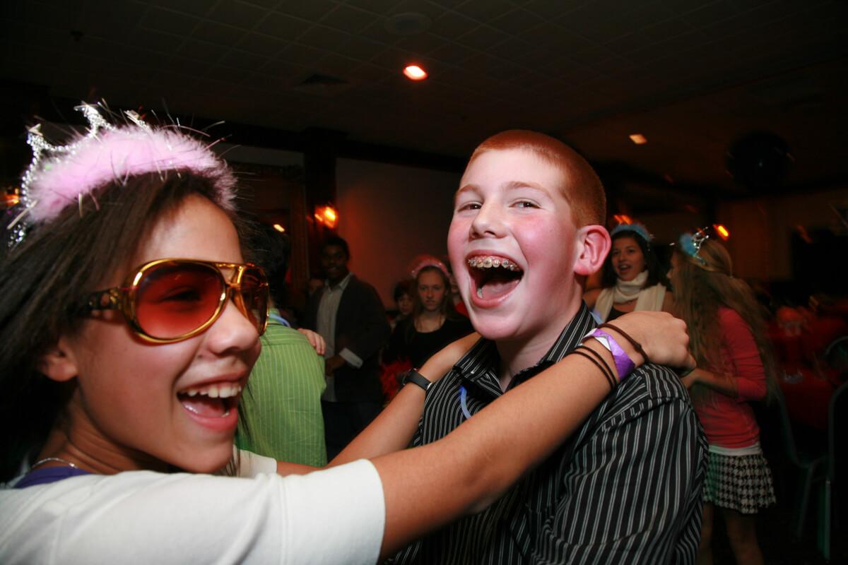 Children have fun dancing at Bar Mitzvah