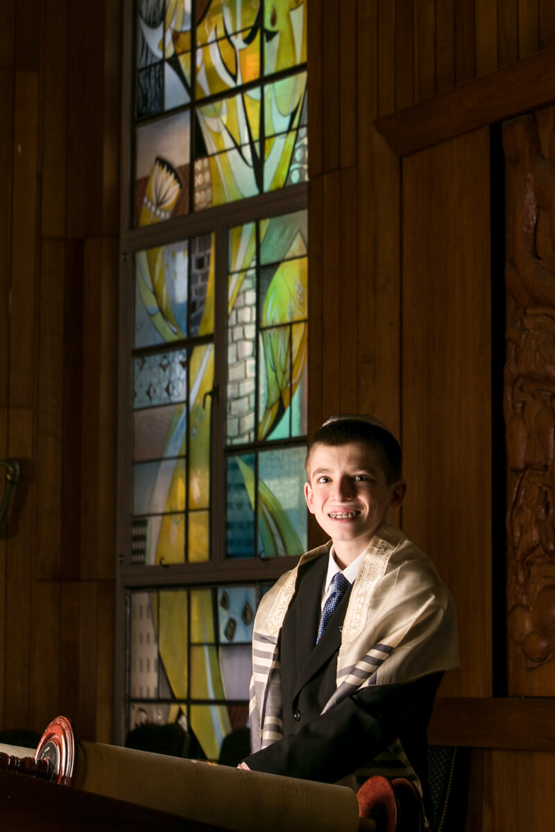 Bar Mitzvah Portrait with Stained Glass