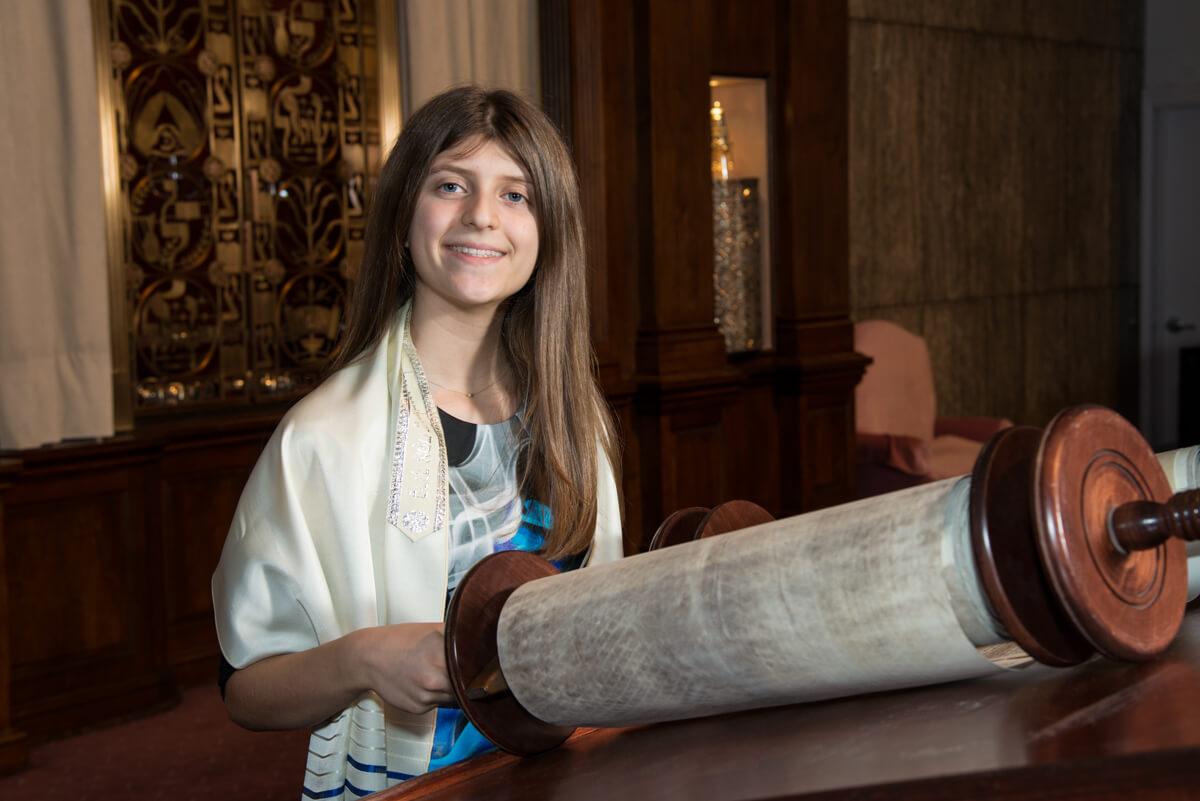Bat Mitzvah Celebrant reads torah