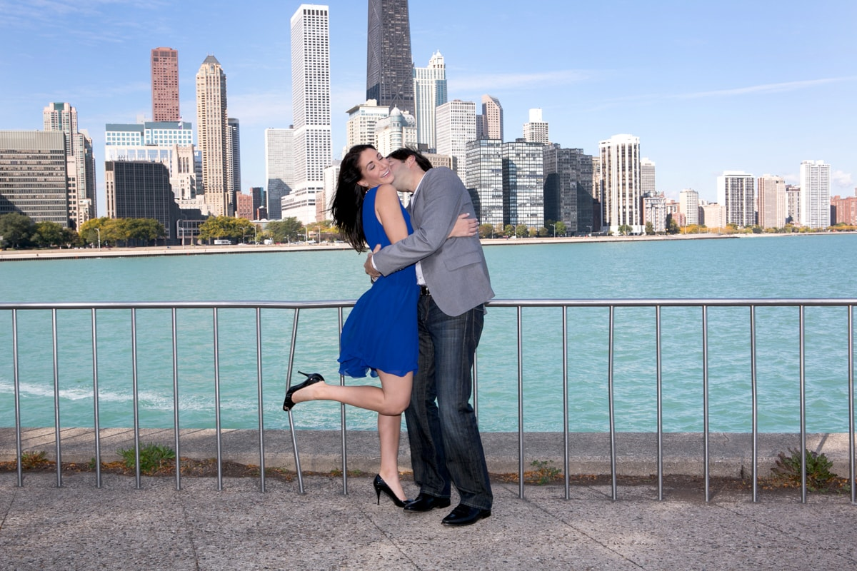 Engagement Session with Chicago Skyline