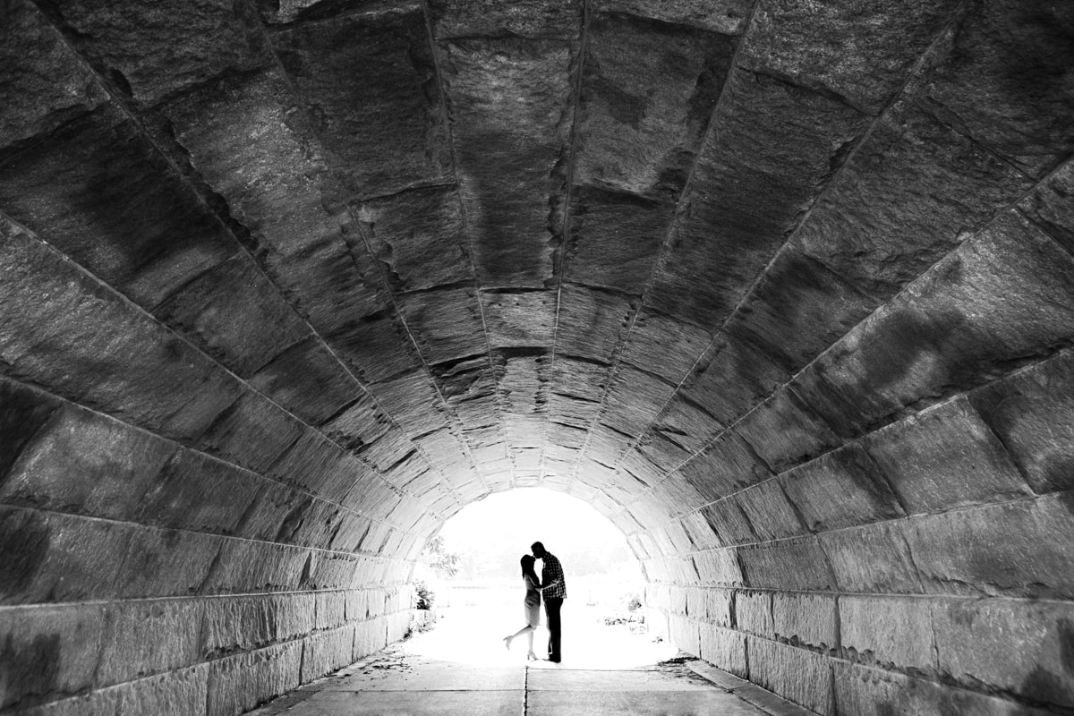 Dramatic Black and white engagement session