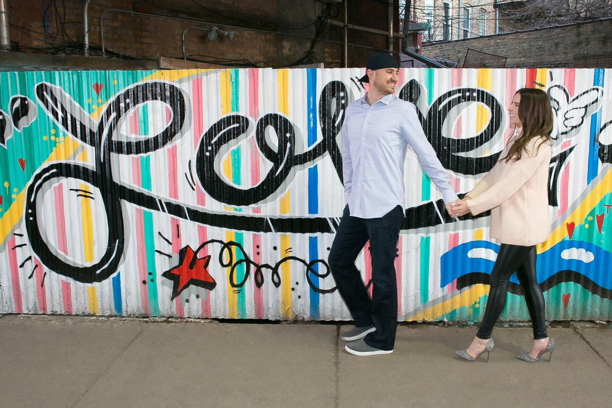 Engagement Session with Love graffiti