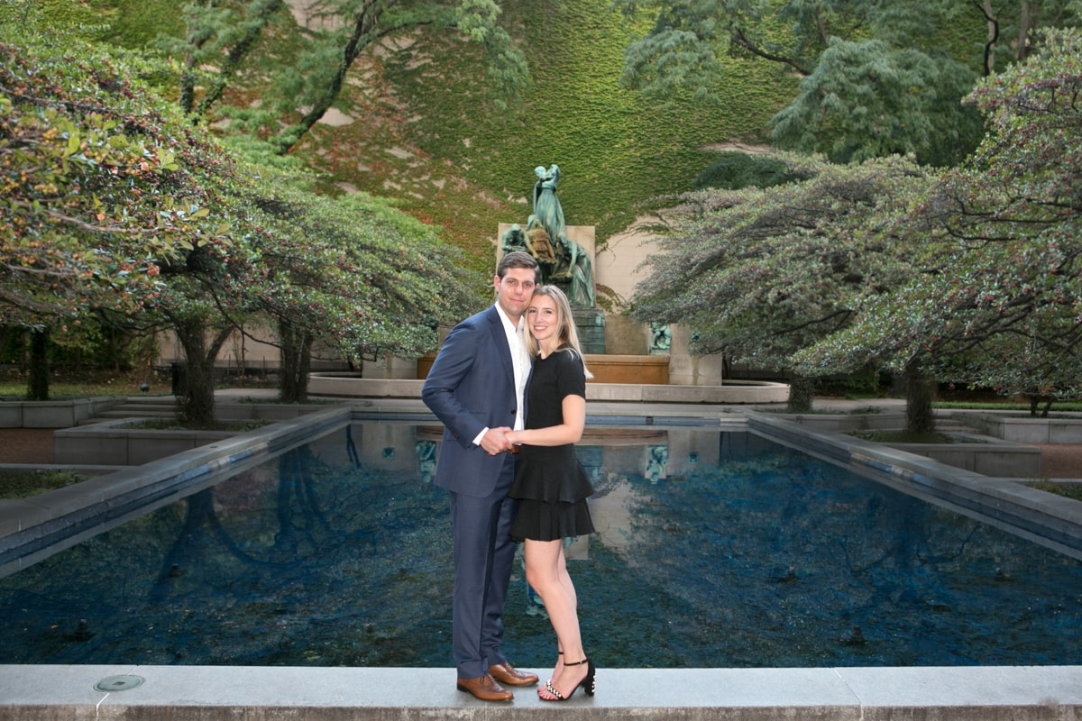 Romantic Engagement Session in Art Institute of Chicago garden.