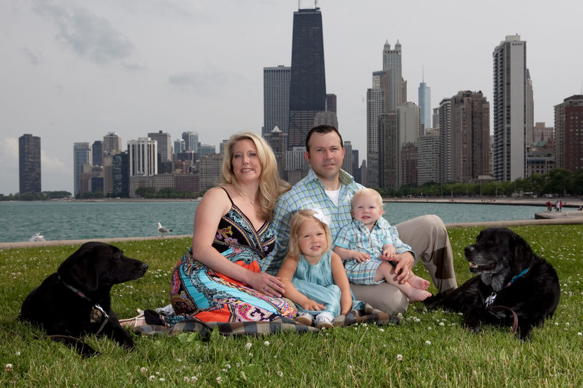 Family portrait with Chicago skyline