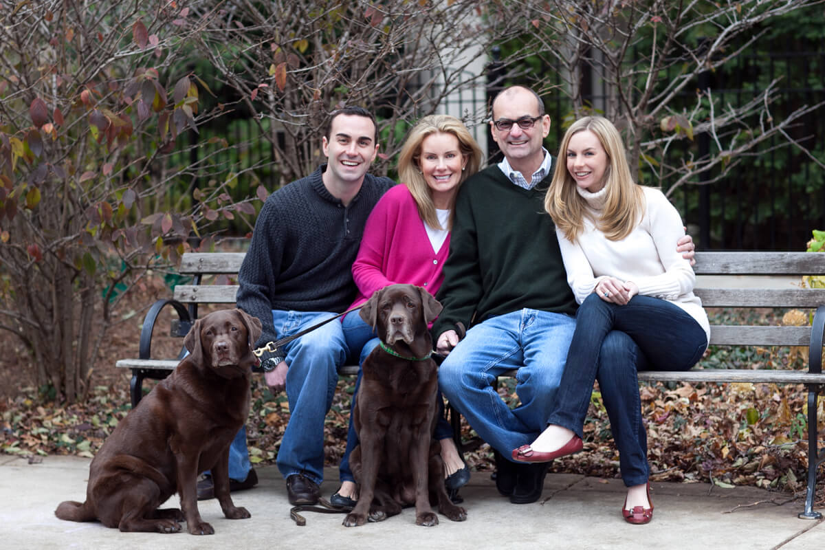 Family Portrait in Lincoln Park with dogs