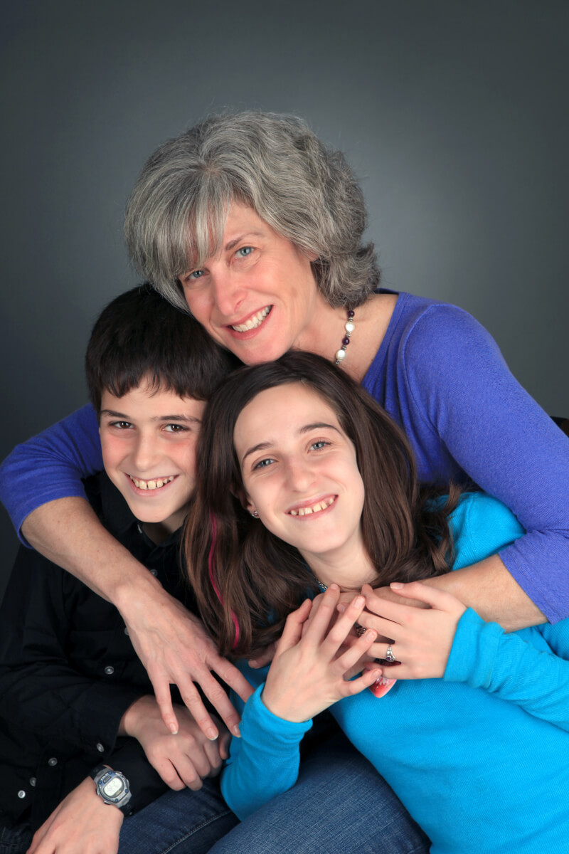 Professional family portrait of trio