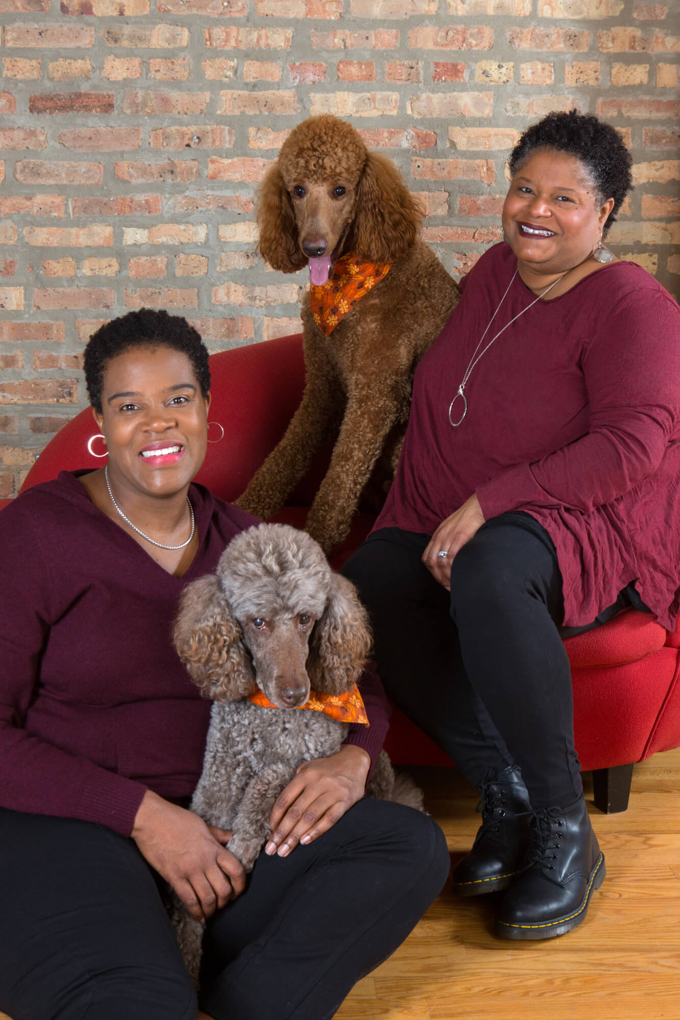 Family Portrait of two women with dogs