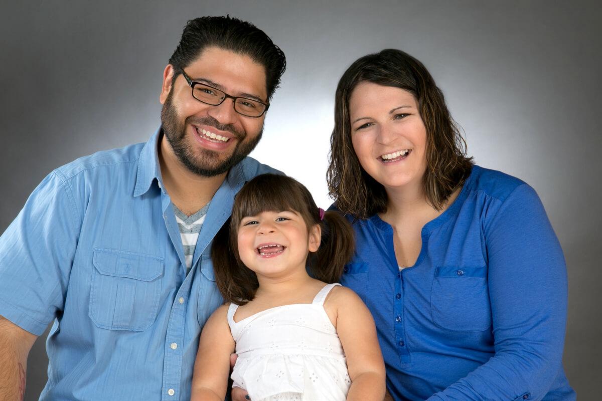 Family of three portrait