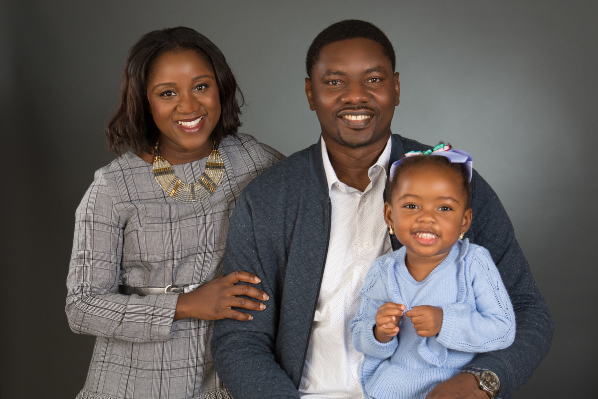 Portrait of family of three