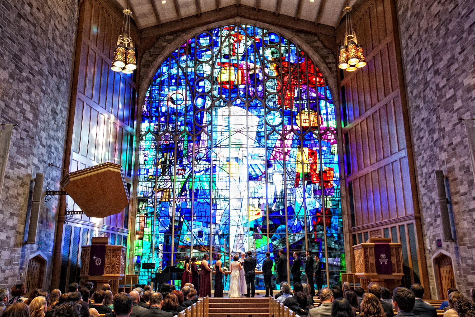 Wedding ceremony at Alice Millar Chapel Evanston