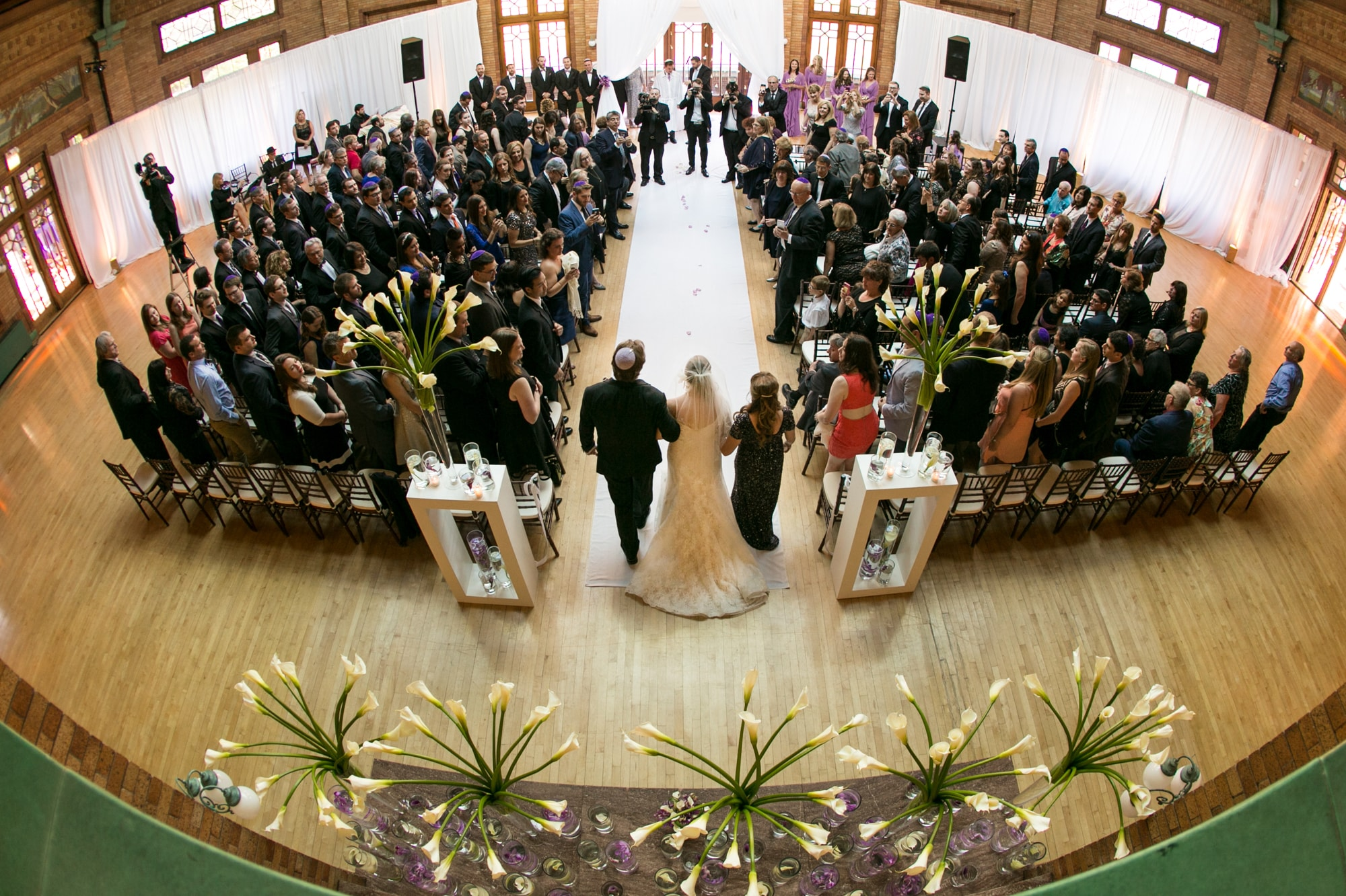 Wedding ceremony photo at Cafe Brauer from balcony