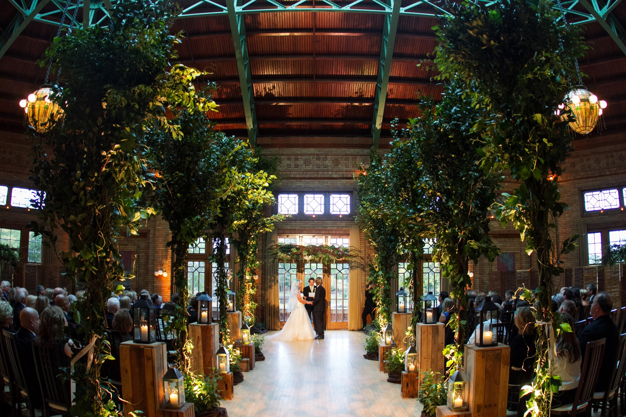 Cafe Brauer wedding ceremony with garden decor
