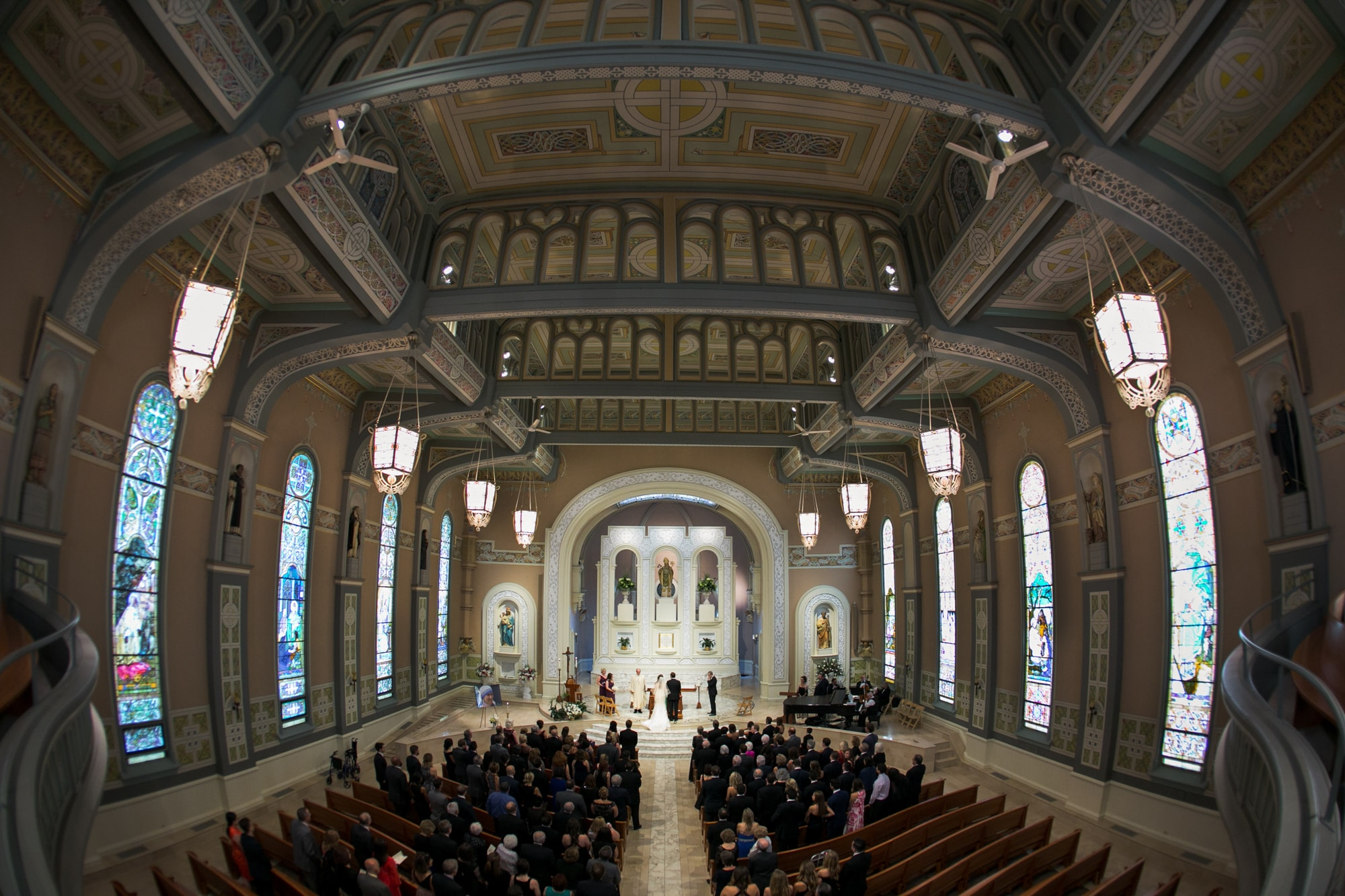 Wide angle photo from above at Old St. Patrick's Church Chicago