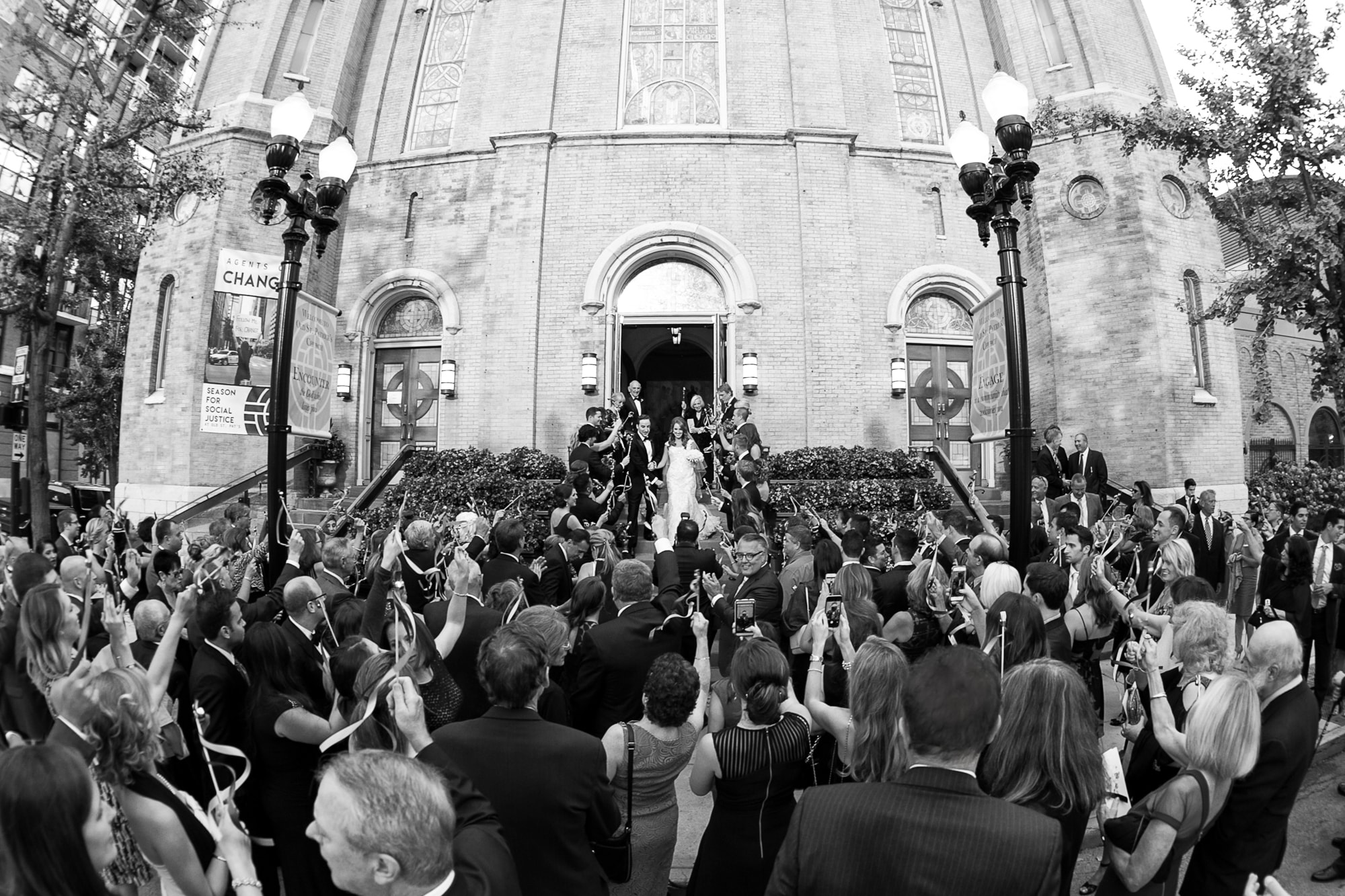 Grand Exit from wedding ceremony at Old St. Patrick's Chicago