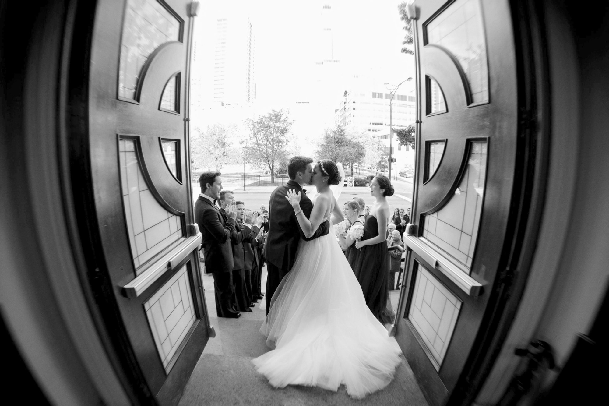 Romantic exit from wedding ceremony at Old St. Patrick's church