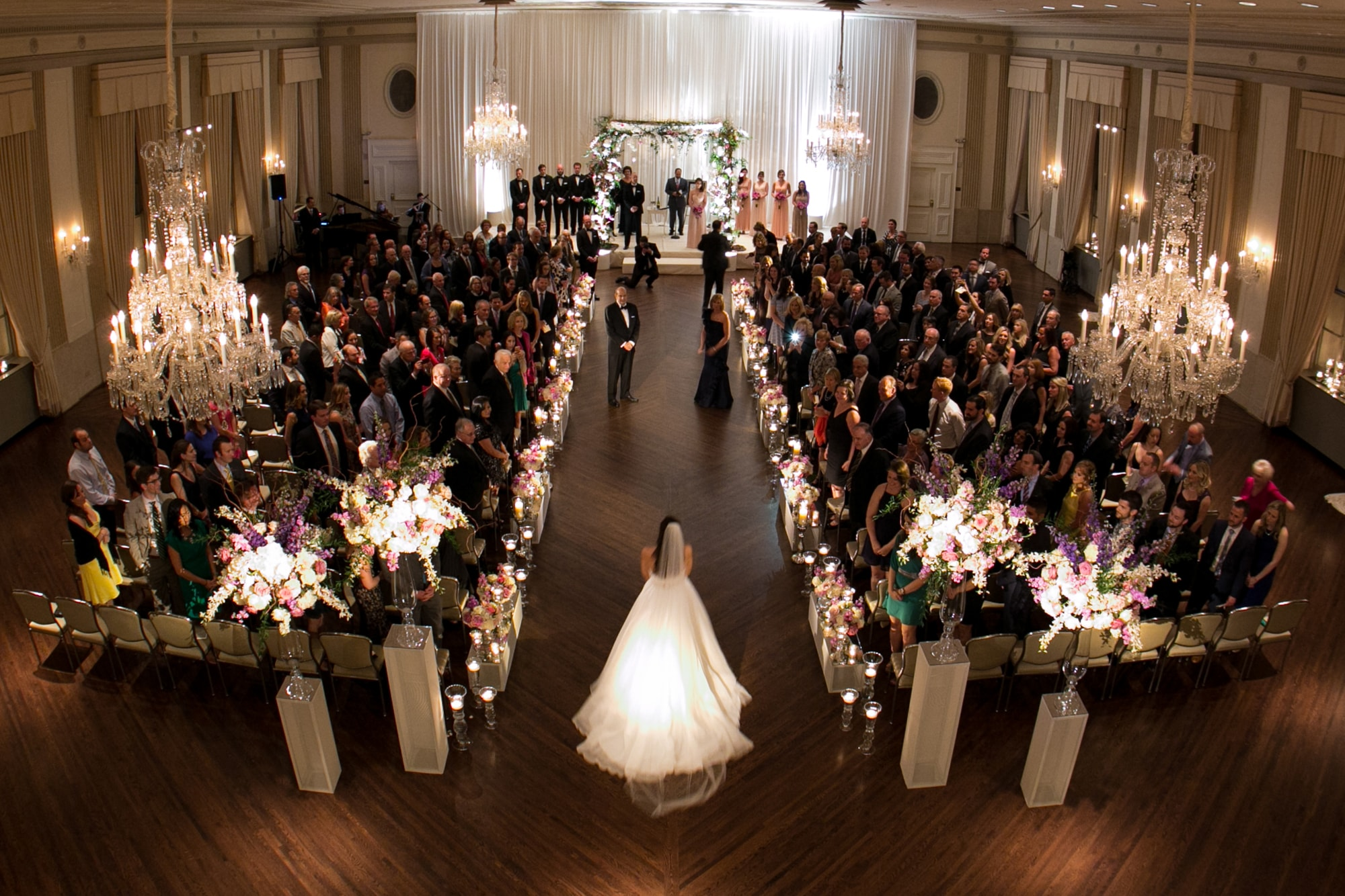 Wedding ceremony from above at the Standard Club Chicago