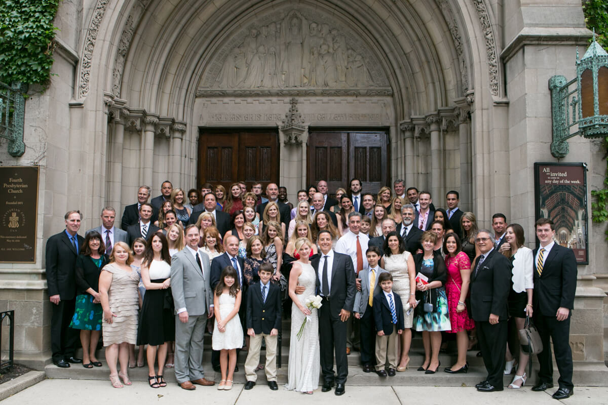 Wedding guests in front of Chicago's Fouth Presbyterian Church