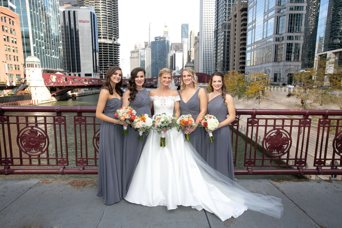 Wedding party portrait on a Chicago River bridge