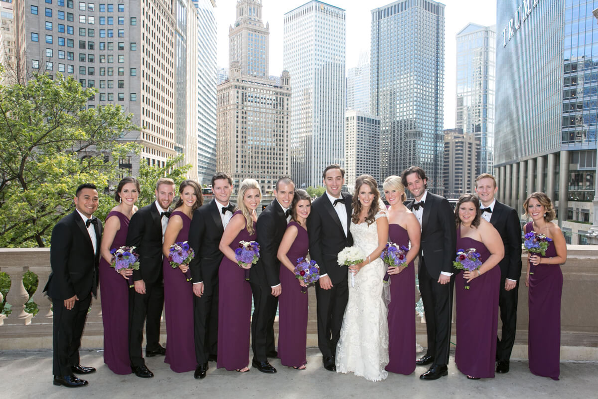 Wedding party portrait at the Chicago River