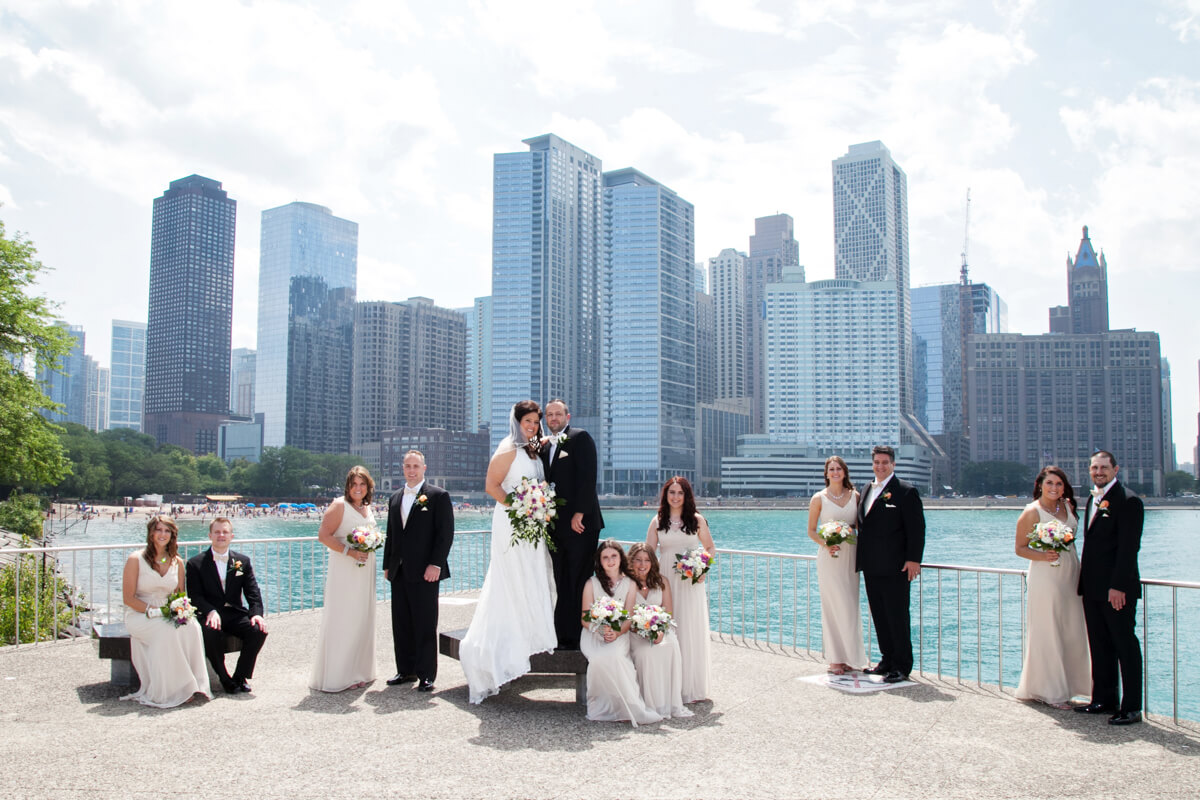 Wedding party in front of the Chicago Skyline