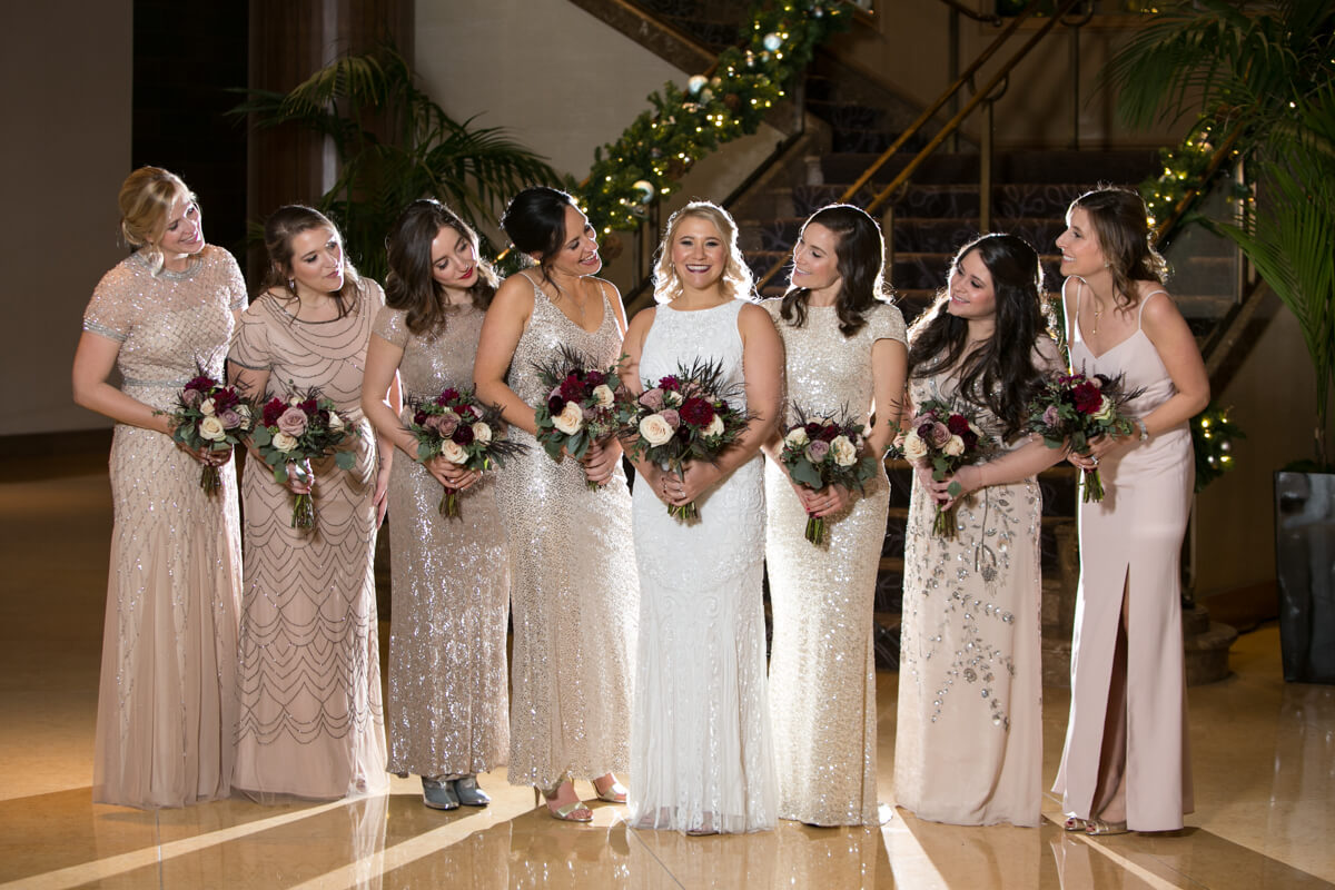 Creative lighting for bridesmaids portrait