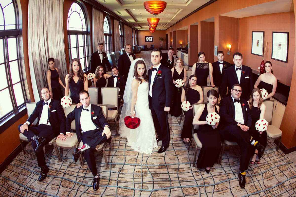 Editorial style wedding party portrait