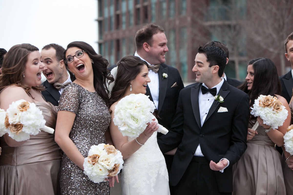 Candid photo of wedding party