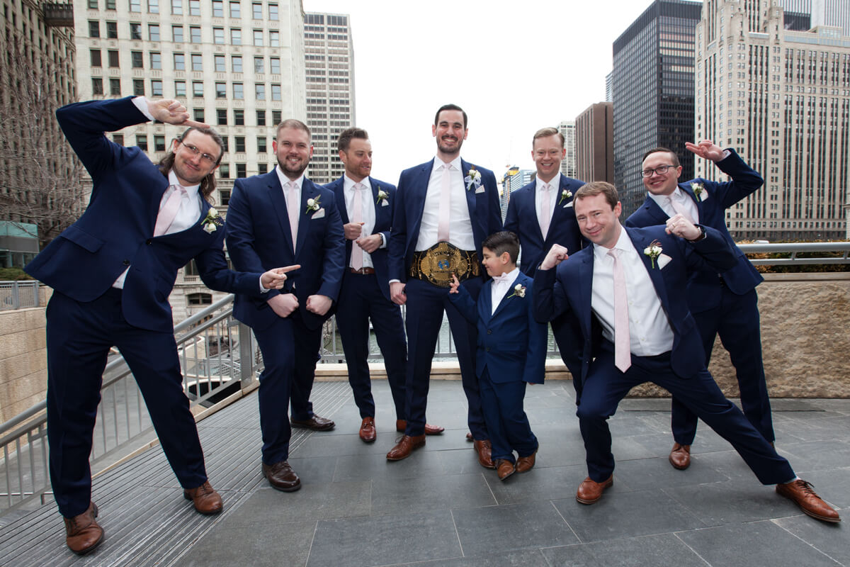 Fun Groomsmen Photo with wrestling gold belt