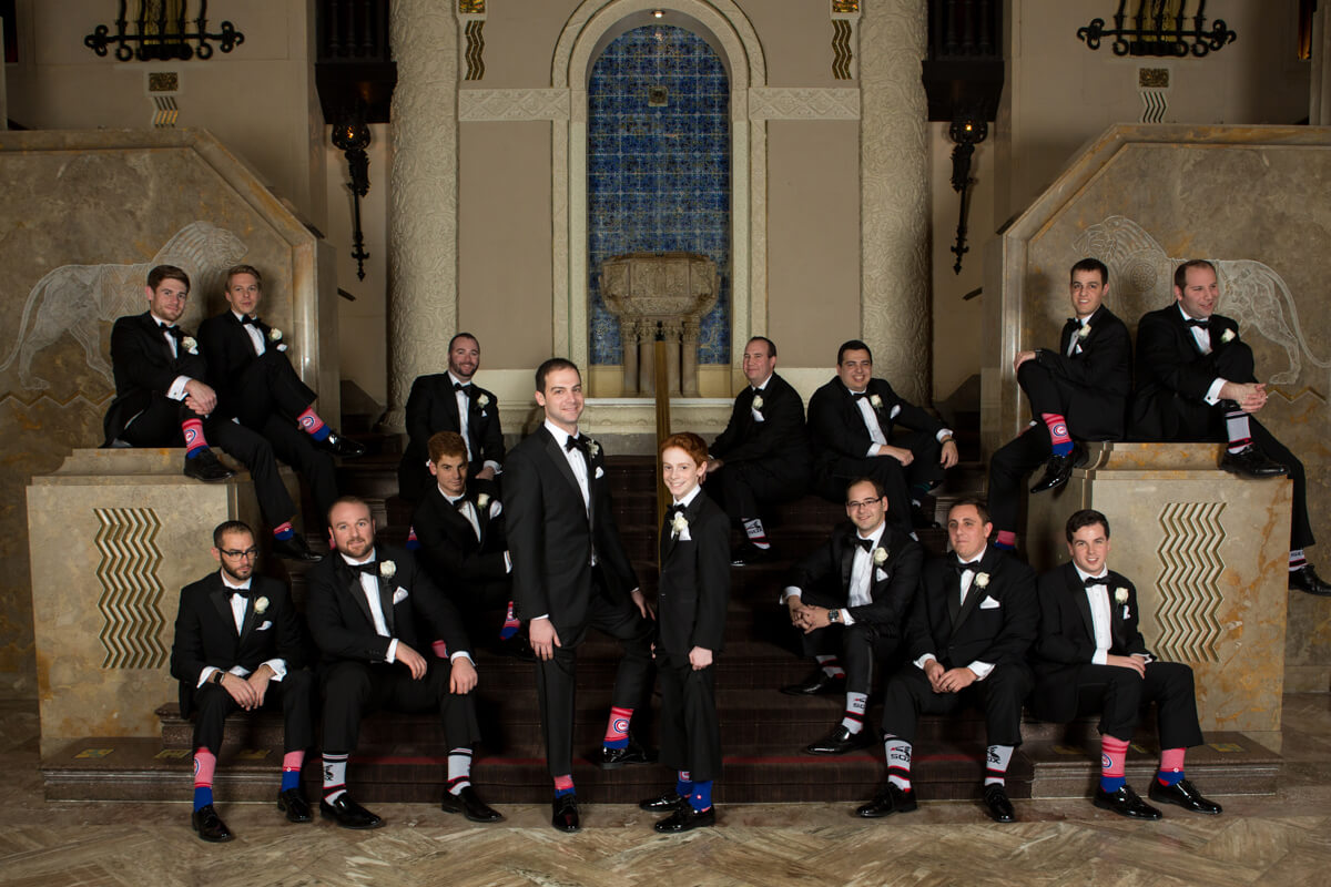 Groomsmen with fun socks at Chicago's Intercontinental