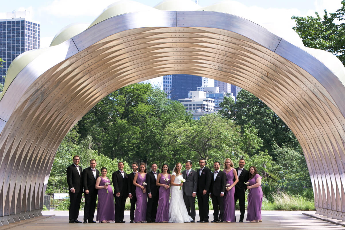 Wedding Party poses at Lincoln Park's Honeycomb in Chicago