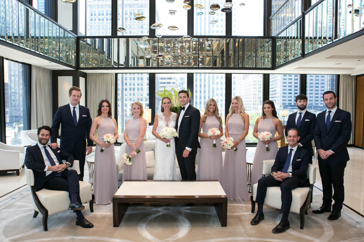 Wedding Party poses at the Langham Hotel Chicago