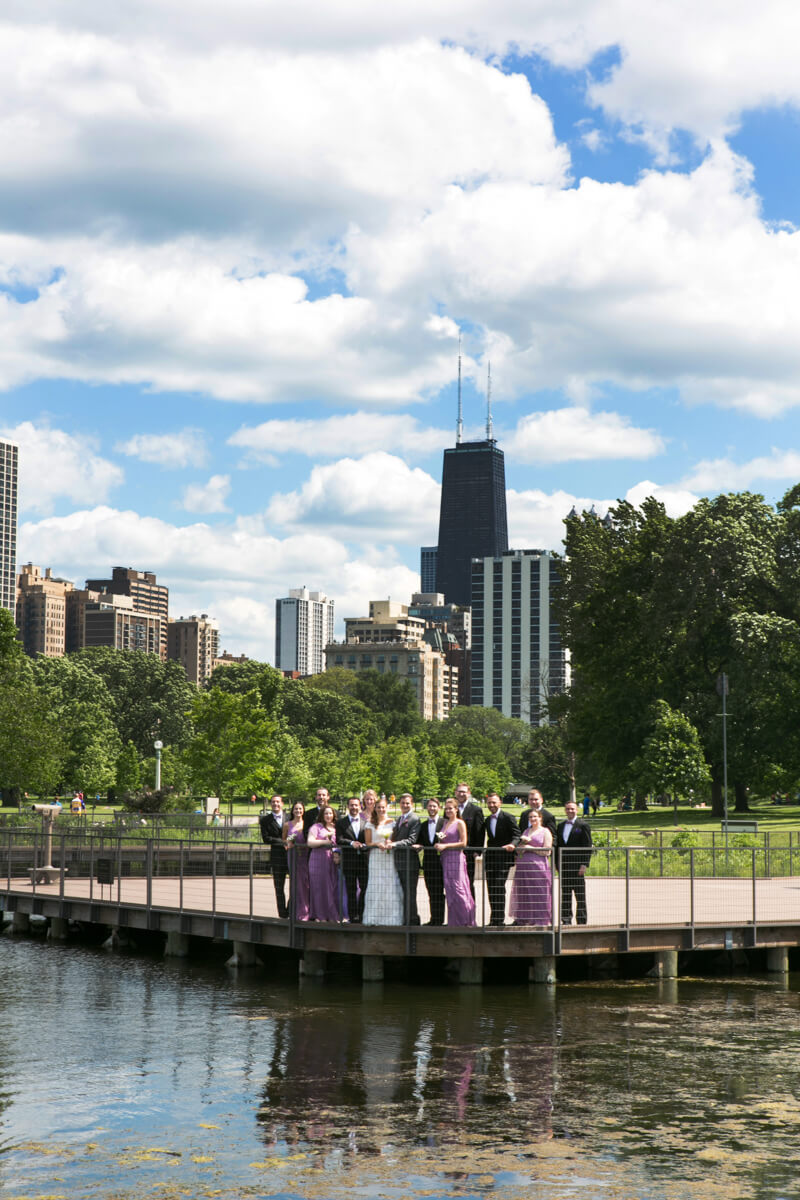 Lincoln Park in Chicago with Wedding Party