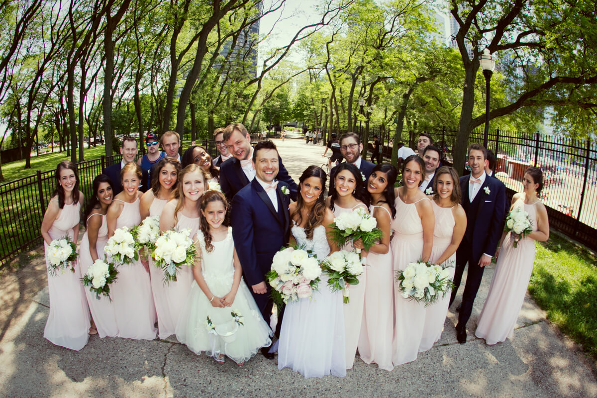 Candid wedding party photo at Olive Park Chicago