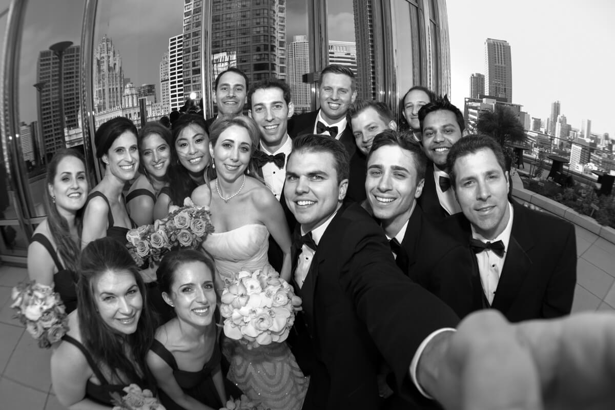 Black and White selfie of wedding party