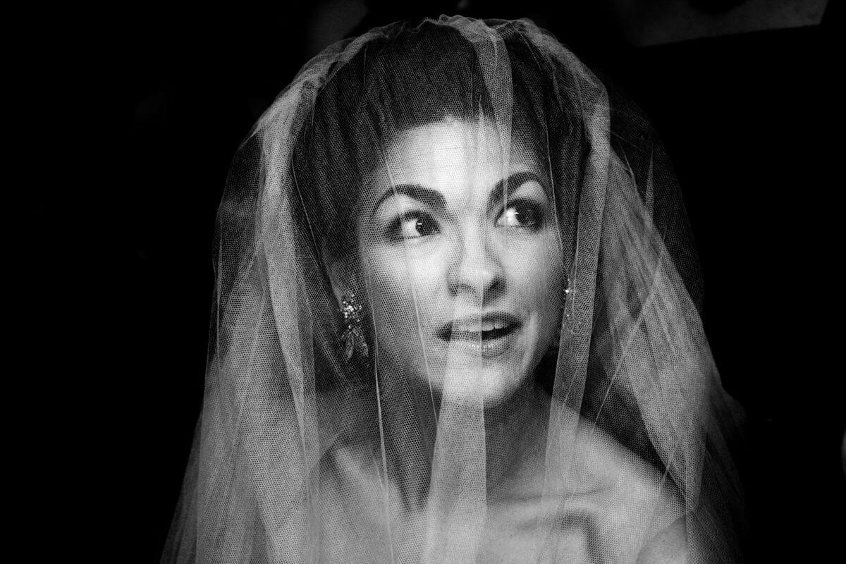 Classic black and white portrait of bride