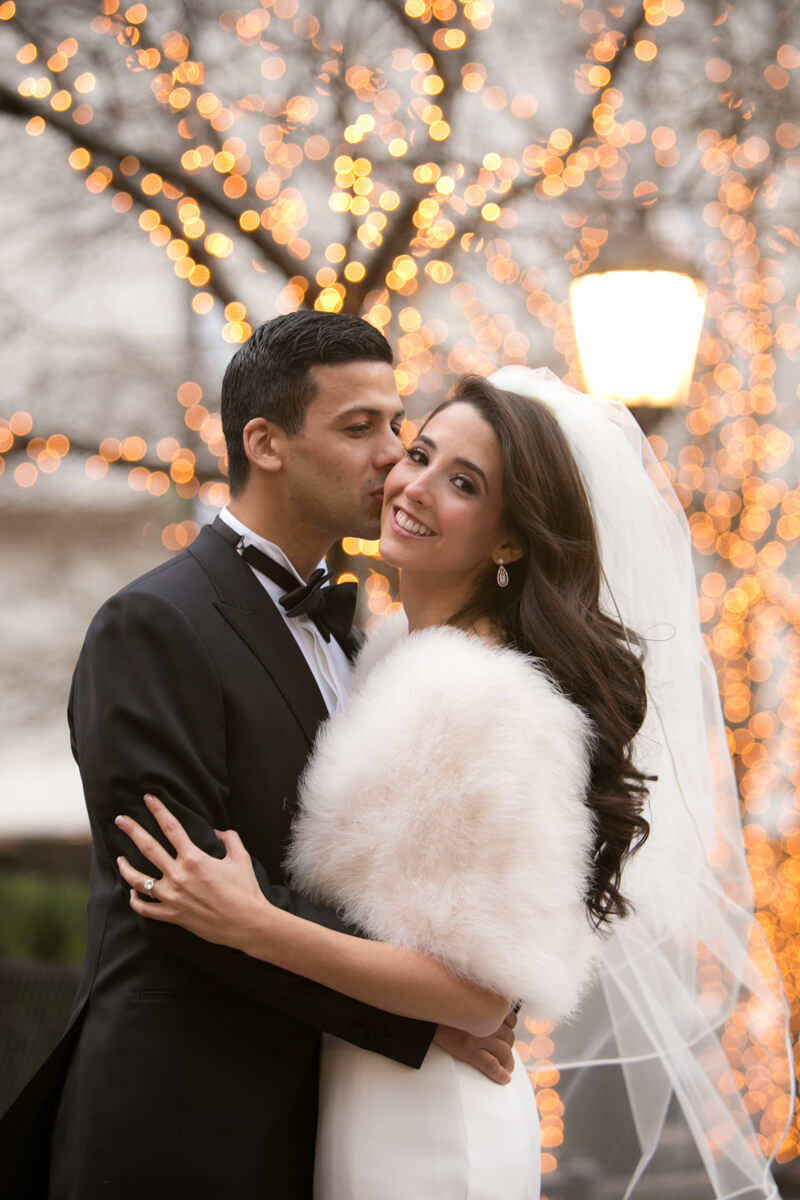 Fall lights of Chicago are backdrop for wedding portrait
