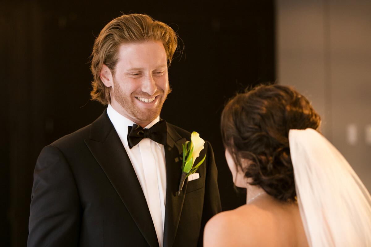 First look between bride and groom.