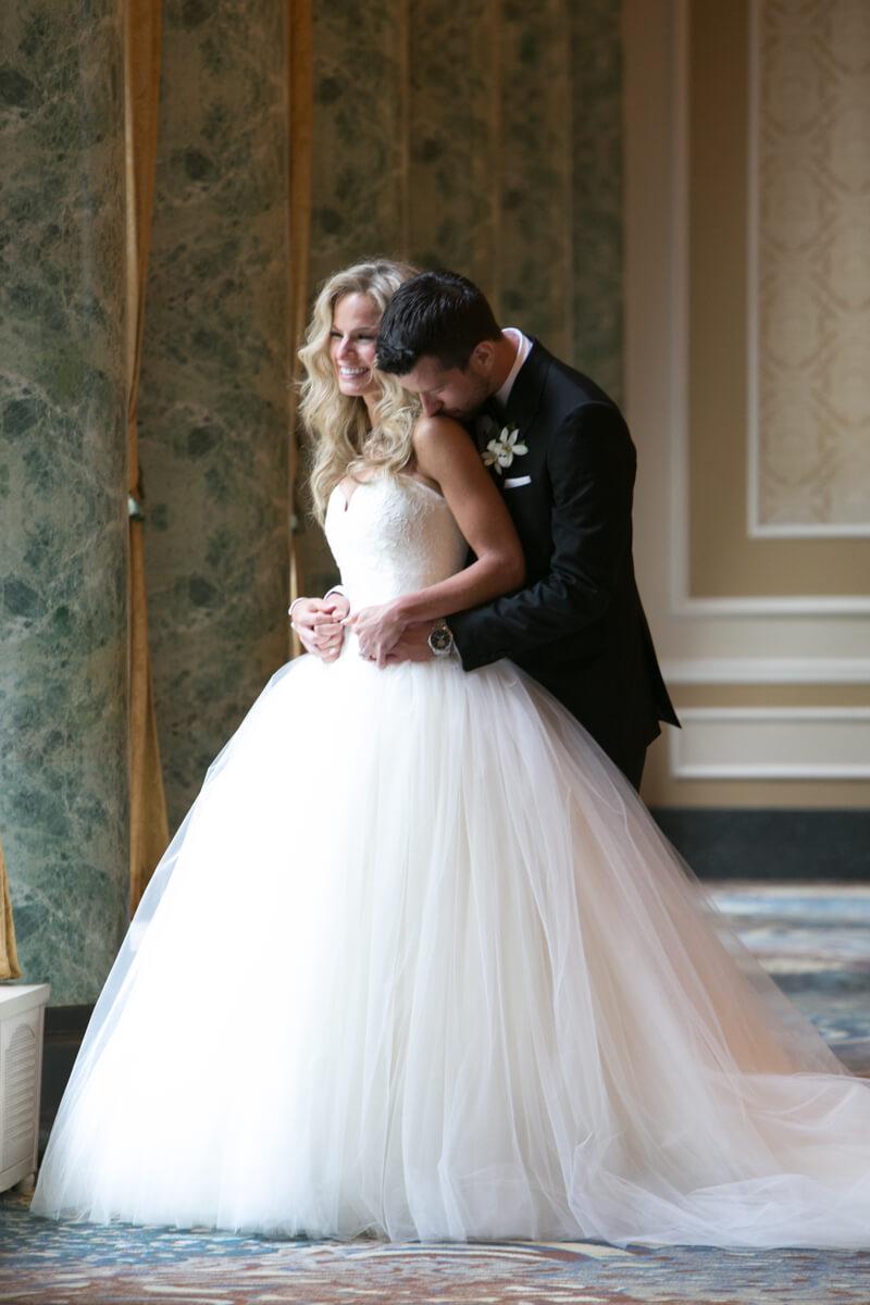 Full length portrait of wedding couple at the Drake Hotel