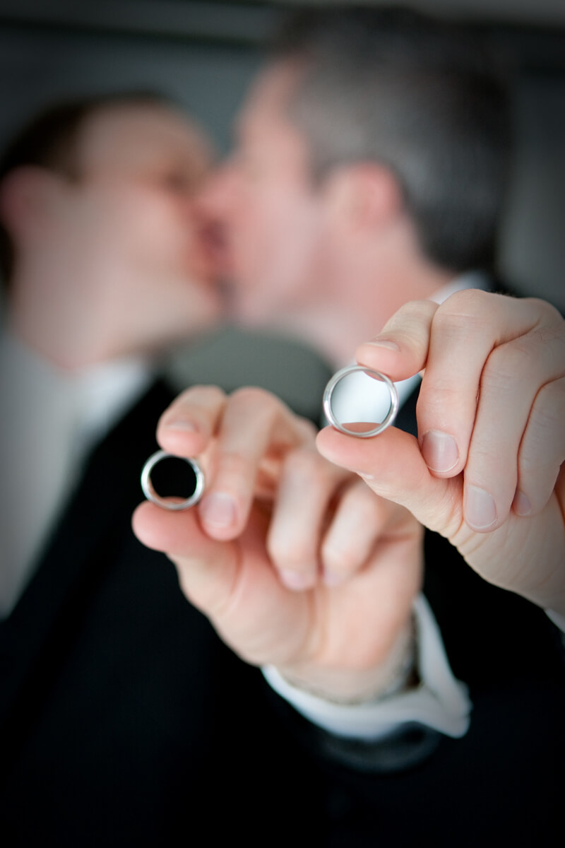 LGBT wedding portrait with rings