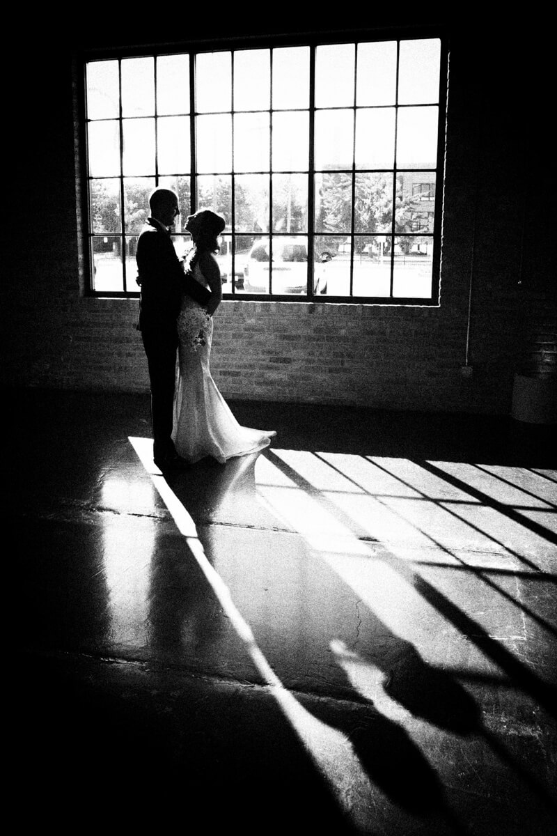 Wedding portrait in silhouette